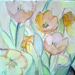 Tulipanes.Bajo cubierta cerámica